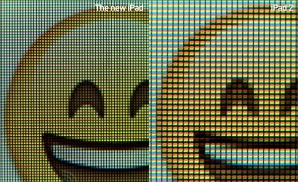 Разница в дисплеях ipad 2 и 3