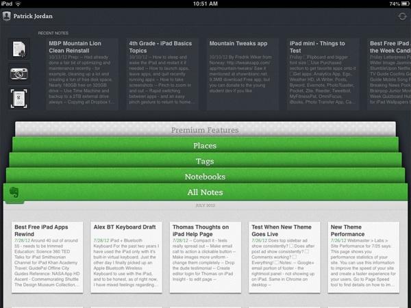 Evernote для ipad