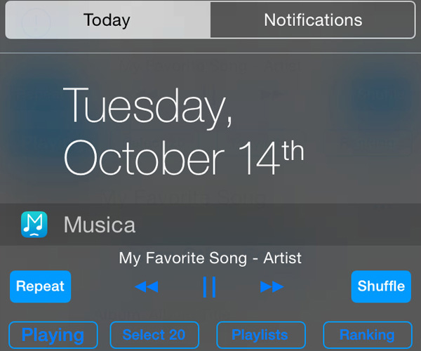 Musica Widget Player для ios