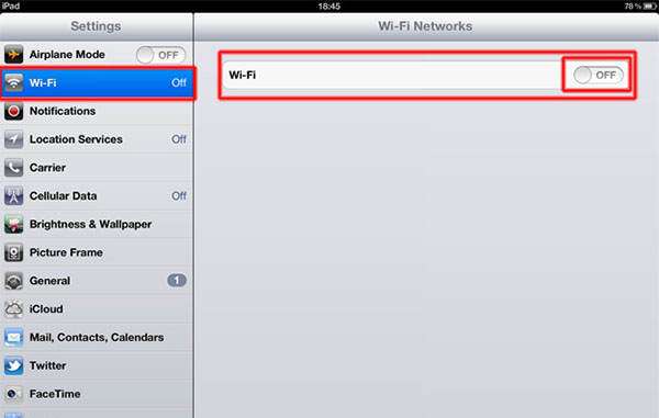 Отключение wifi