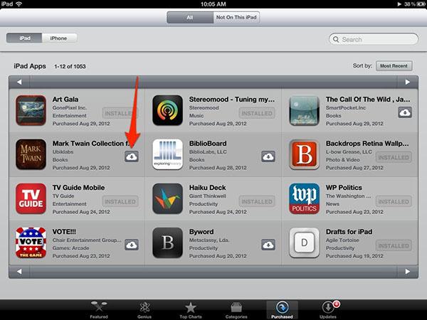 Downloads на iPad