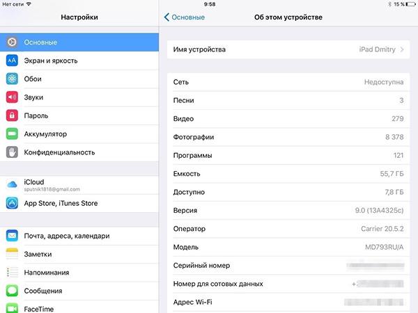 Необходимые данные об iPad